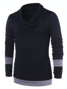 Pile Heap Collar Color Block T shirt