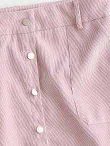 2019 zaful knopf vorne corduroy minirock von rosa kaugummi l zaful de. Black Bedroom Furniture Sets. Home Design Ideas