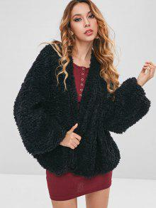 معطف ضبابي بدون ياقة - أسود