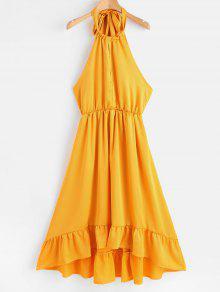 عارية الذراعين الرسن ارتفاع منخفض اللباس - بني ذهبي M
