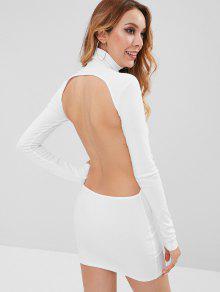 الياقة المدورة قطع اللباس مضلع البسيطة BODYCON - أبيض L