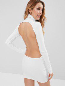 الياقة المدورة قطع اللباس مضلع البسيطة BODYCON - أبيض M
