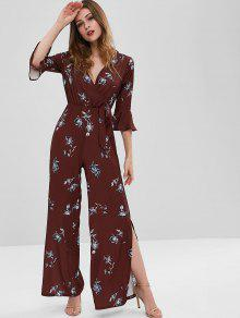 Side Slit Floral Wide Leg Jumpsuit - كستنائي M