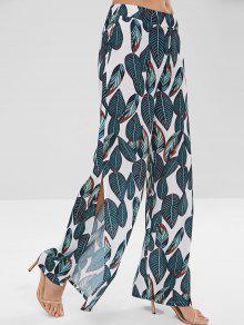 سروال واسع مطبوع بالازو واسع الساق - ديب غرين L