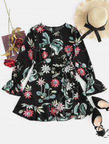 زهرة الزنبق مربوط اللباس - أسود L