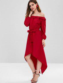 8b83fc79858b 42% OFF] 2019 Off Shoulder Belted High Low Dress In RED WINE | ZAFUL
