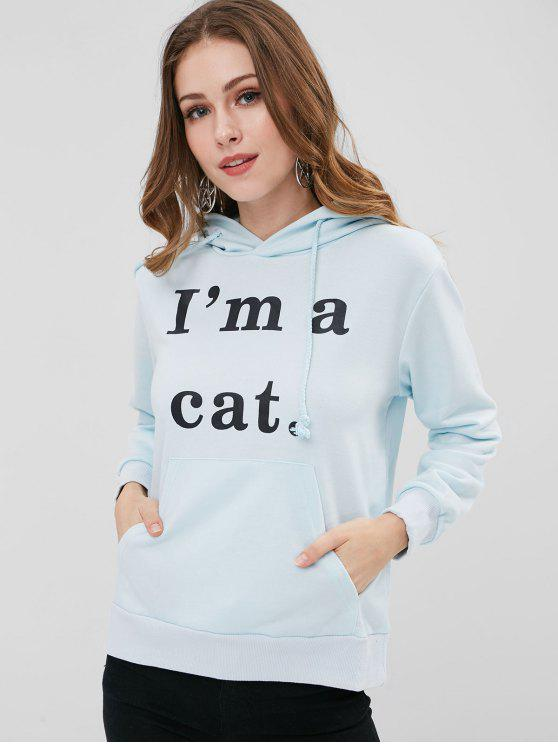 chic Front Pocket Letter Graphic Cat Hoodie - LIGHT BLUE XS