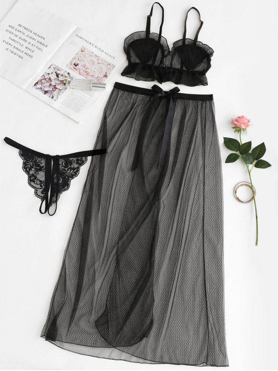 مجموعة حمالة صدر و ملابس داخلية لانجري شبكية - أسود مقاس واحد
