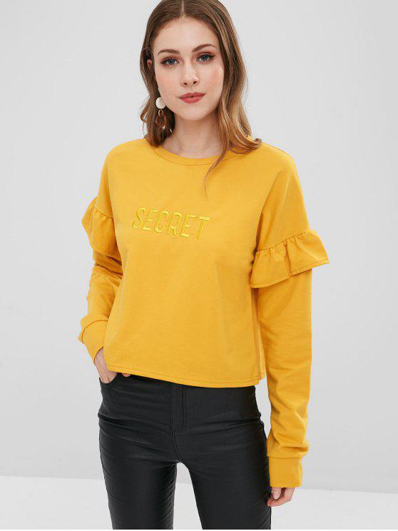 shops Letter Embroidered Patch Ruffles Sweatshirt - GINGER XL