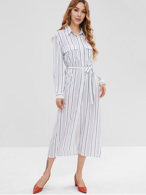 فستان بنمط قميص مخطط مع جيوب - أبيض XL