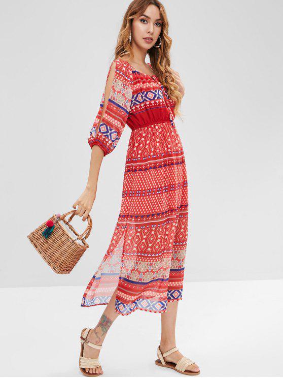 women's Ethnic Elastic Waist Cut Out Sleeve Dress - MULTI XL