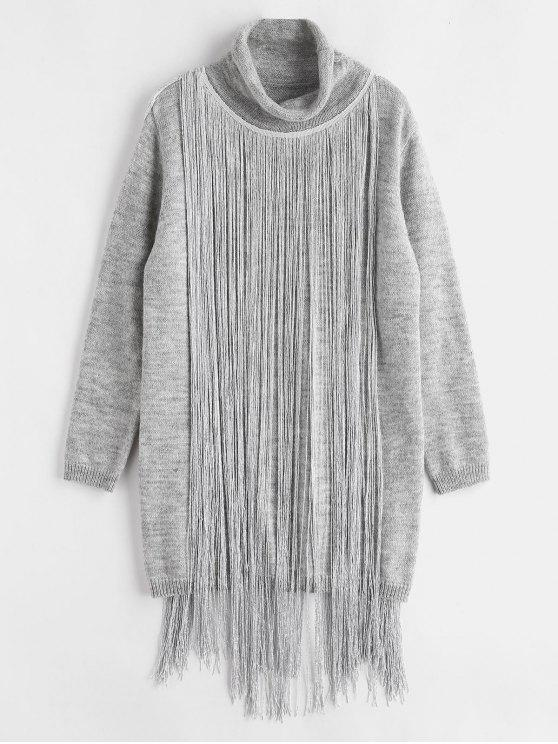 online Turtleneck Fringe Sweater Dress - GRAY GOOSE ONE SIZE