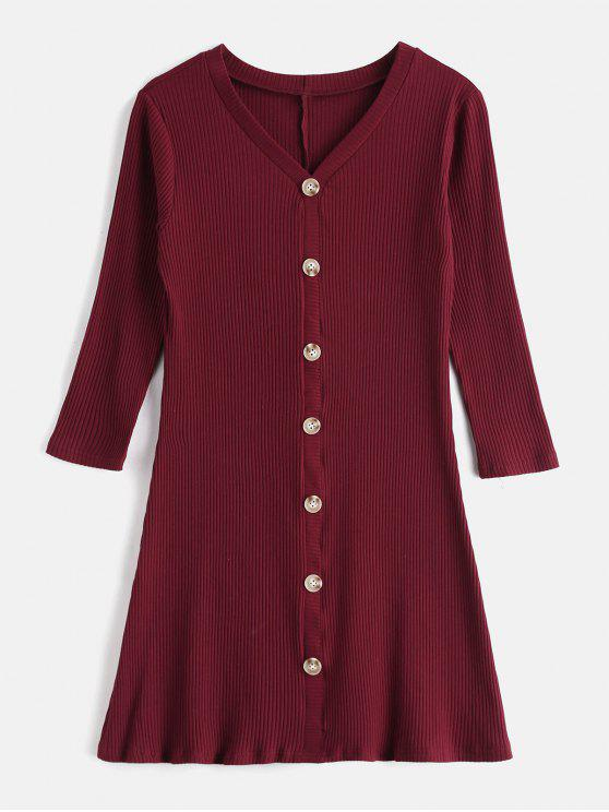 shop Buttoned Ribbed Casual Dress - RED WINE L