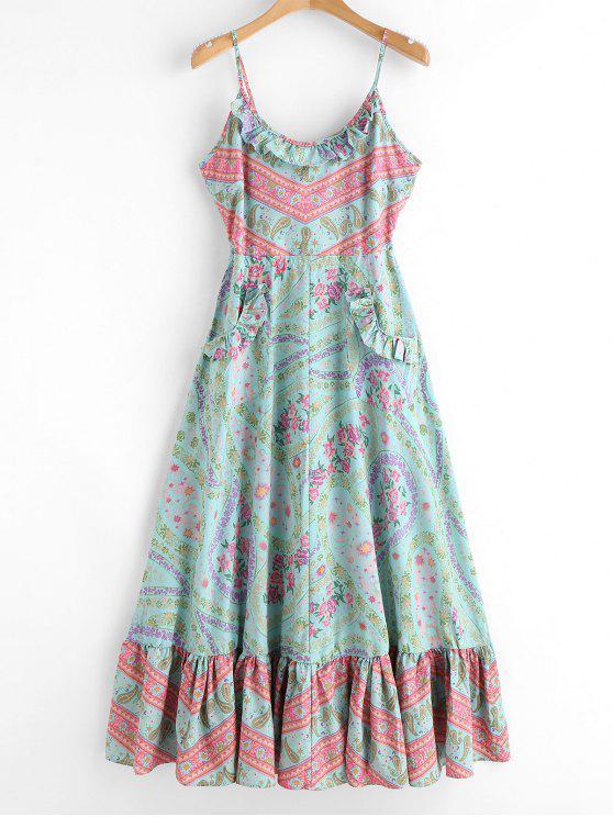 unique Ruffle Trim Backless Floral Dress - AQUAMARINE M