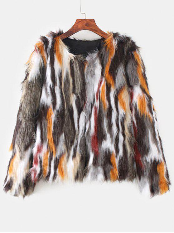 Casaco colorido de peles artificiais - Multi L