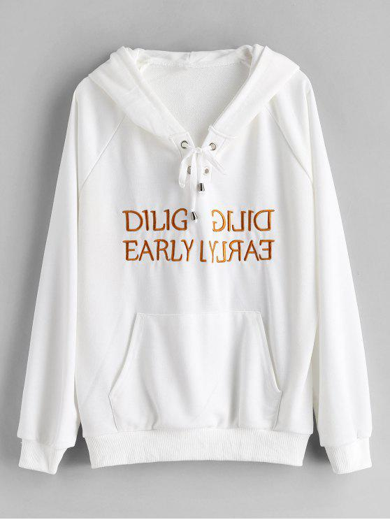 shop Lace Up Graphic Embroidered Hoodie - WHITE M