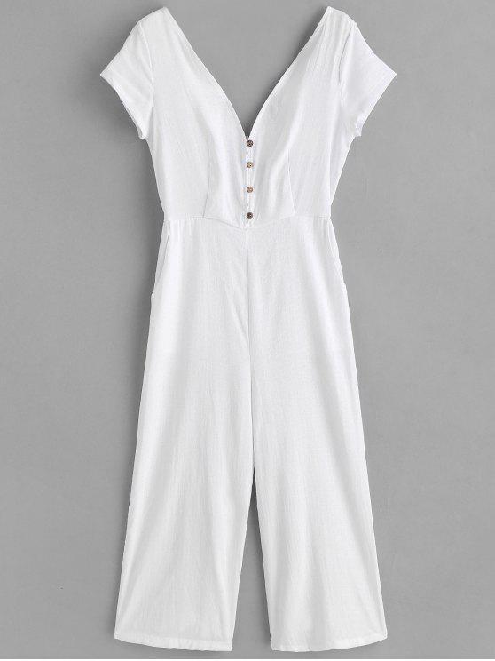 fashion Buttoned Wide Leg Jumpsuit - WHITE L