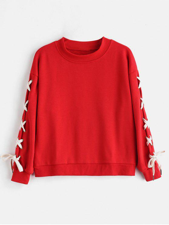fancy Lace Up Contrasting Sweatshirt - RED M