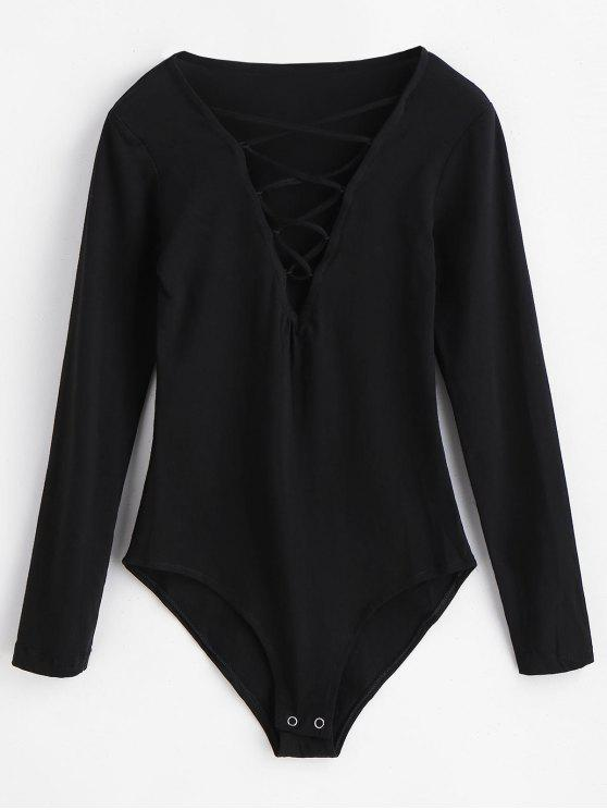 Mangas compridas bodysuit lace-up - Preto M