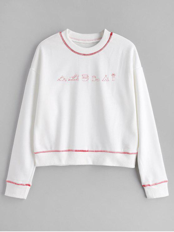 best Cute Contrasting Graphic Sweatshirt - WHITE M