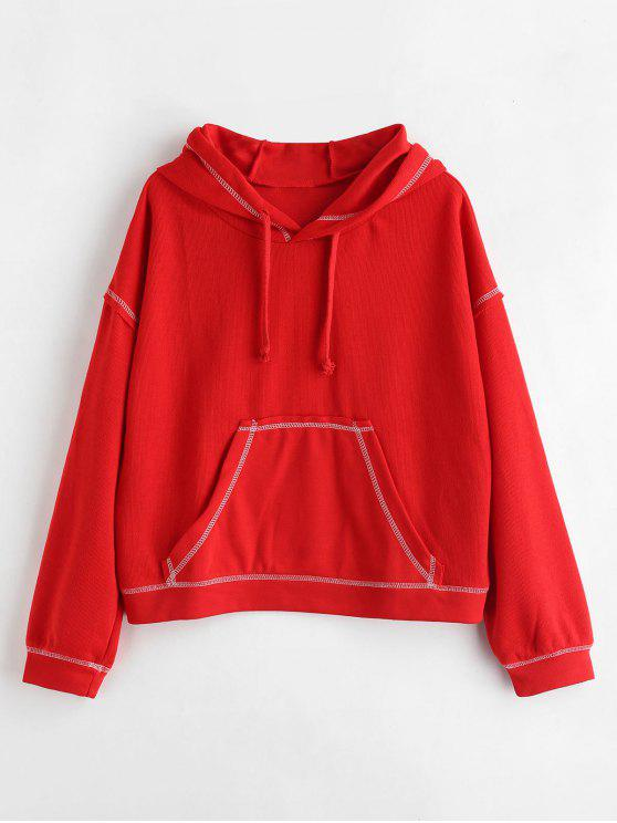 fancy Front Pocket Contrasting Hoodie - RED ONE SIZE