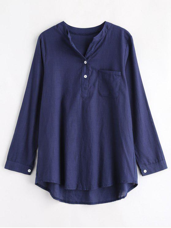 Blusa de bolso de meio botão - Cadetblue S