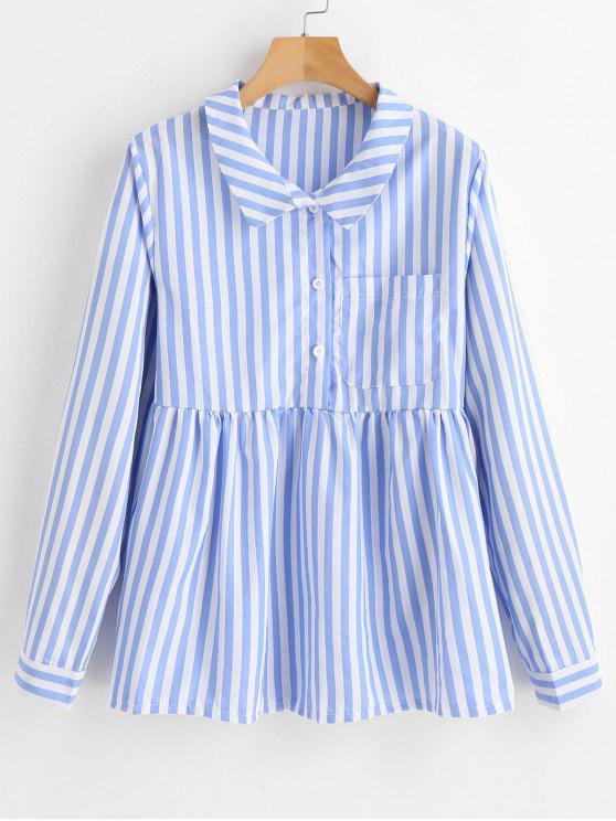 Blusa de listras meio abotoada - Dia Céu Azul M