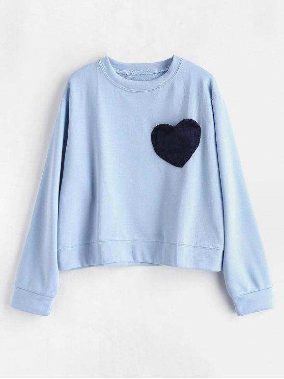 women's Contrasting Heart Patched Valentine Sweatshirt - LIGHT BLUE ONE SIZE