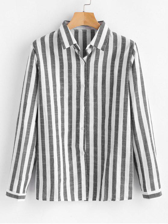 Camisa listrada para baixo - Cinzento XL