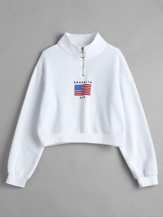chic American Flag Zip Mock Neck Sweatshirt - WHITE L