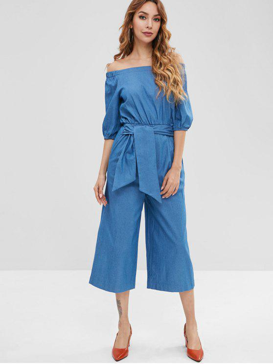 best Wide Leg Off Shoulder Denim Jumpsuit - BLUE M