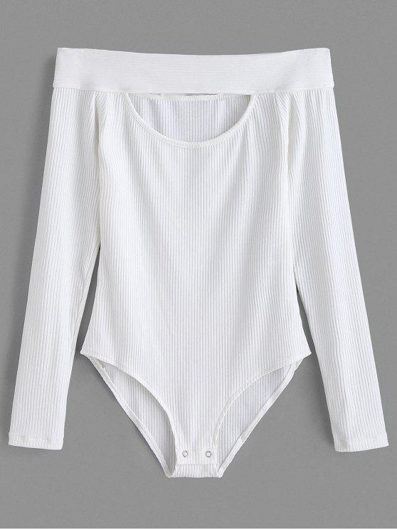 affordable Long Sleeve Off Shoulder Knit Bodysuit - WHITE S