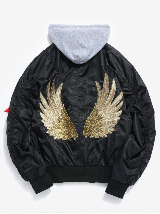 online Embroidered Wings Detachable Hat Bomber Jacket - BLACK XL