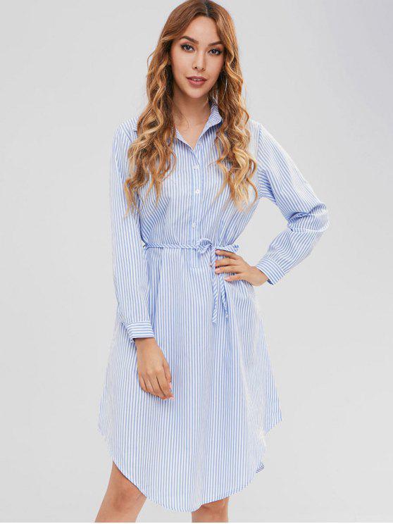 Robe Chemise Rayure Verticale à Manches Longues - Bleu Léger  L