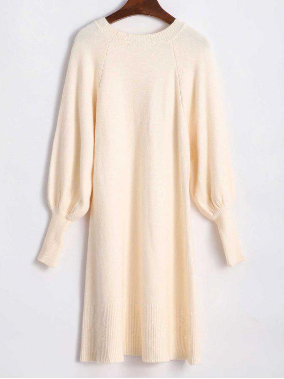 Lantern Ärmel Lässige Pullover Kleid - Aprikose Eine Größe