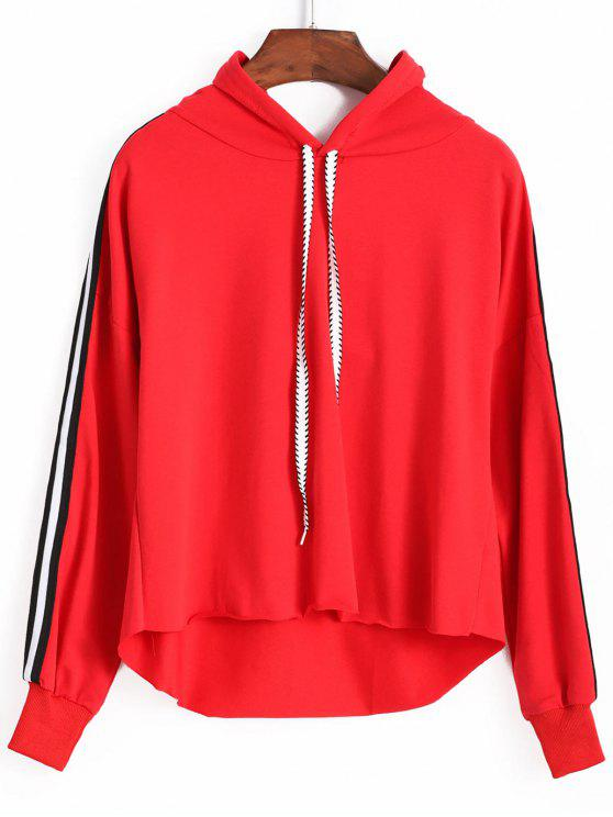 outfits Side Stripe Hoodie - RED ONE SIZE