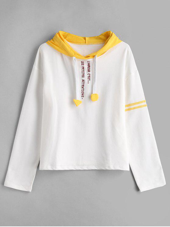 trendy Stripes Panel Embroidered Hoodie - WHITE M