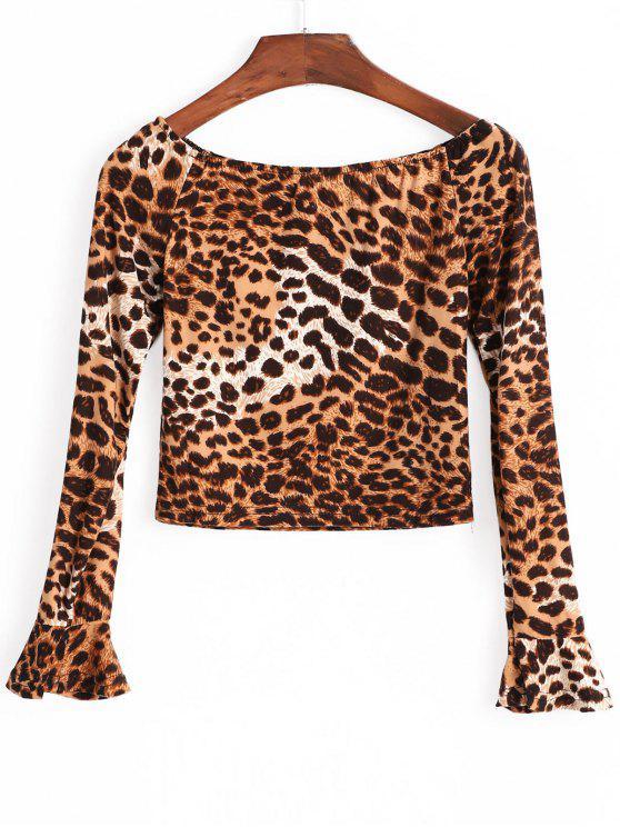 women's Leopard Print Crop Top - MULTI M