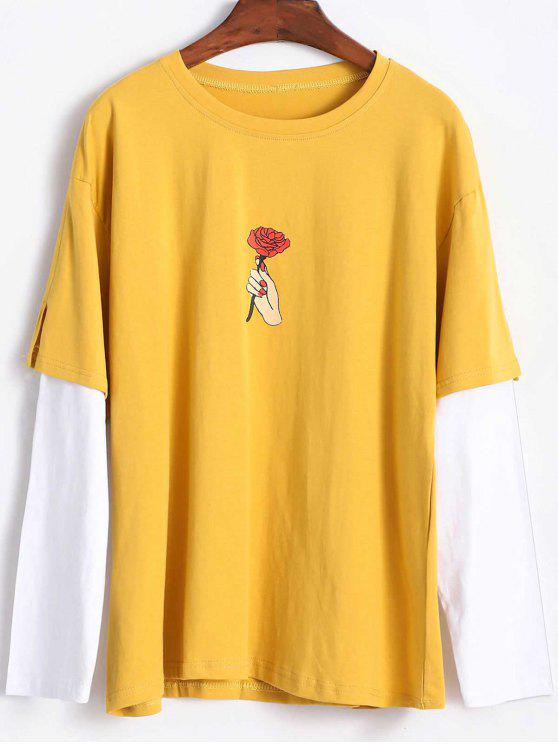 T-Shirt Rose à Manches Jointives - Moutarde  M