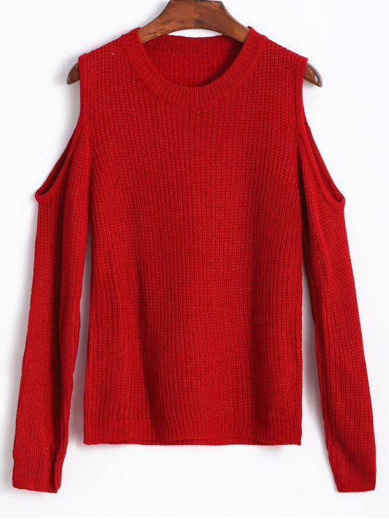 sale Cold Shoulder Sweater - RED WINE ONE SIZE