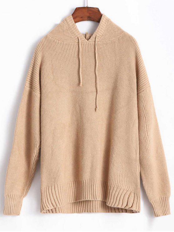 buy Hooded Drop Shoulder Pullover Sweater - CAMEL BROWN ONE SIZE