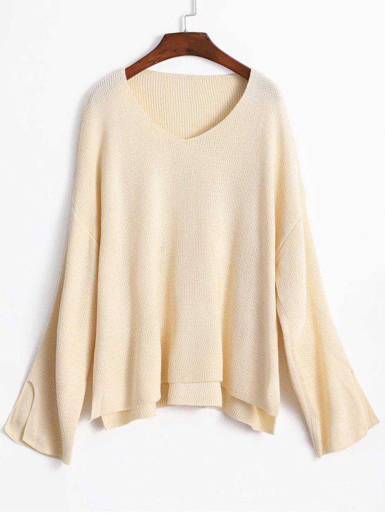 womens Slit Sleeve Oversize Sweater - WARM WHITE ONE SIZE