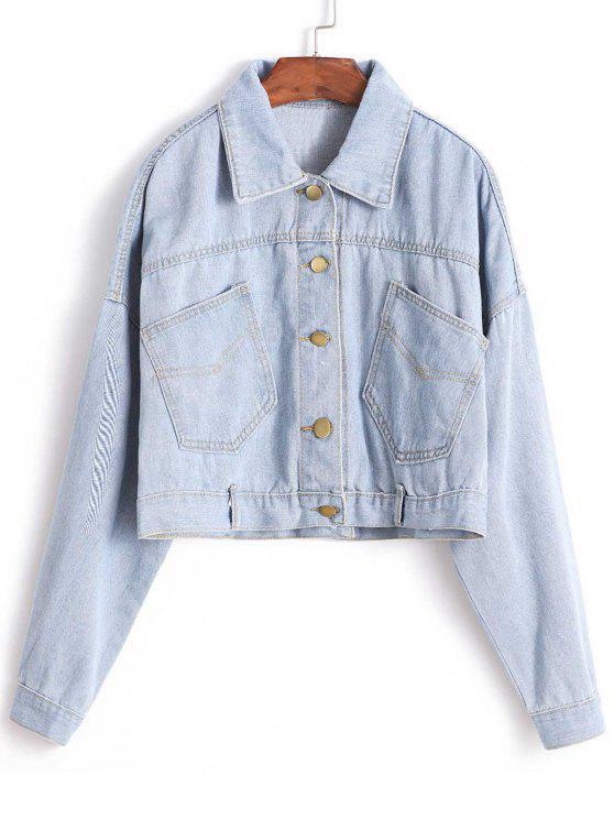fancy Drop Shoulder Crop Jean Jacket - DENIM BLUE ONE SIZE