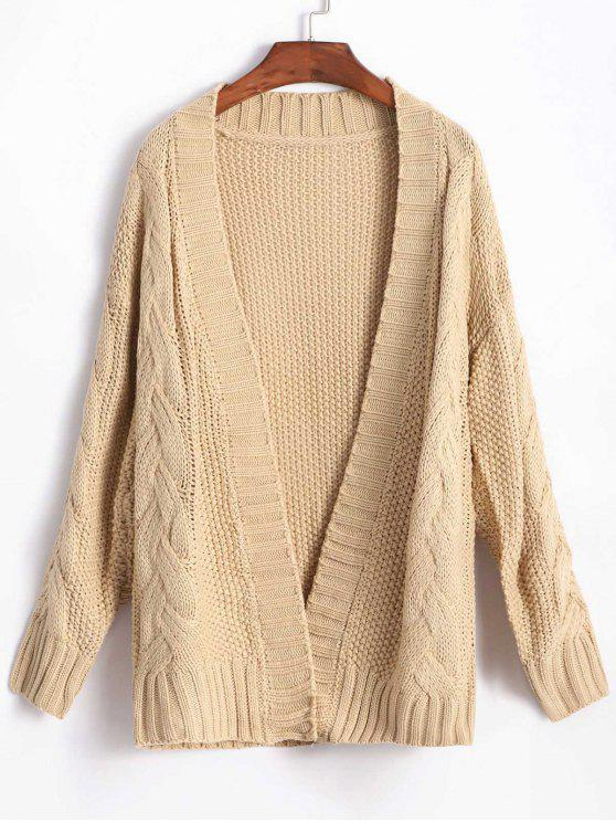 affordable Cable Knit Chunky Cardigan - TAN ONE SIZE
