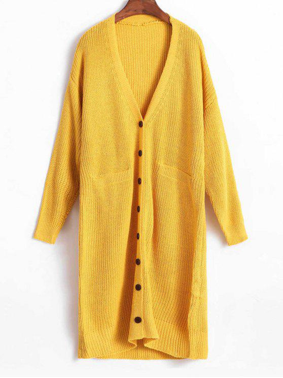 womens Plunge Drop Shoulder Single Breasted Cardigan - GOLDEN BROWN ONE SIZE