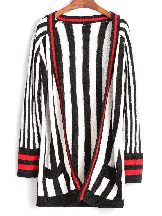 women's Contrast Striped Tunic Cardigan - MULTI ONE SIZE