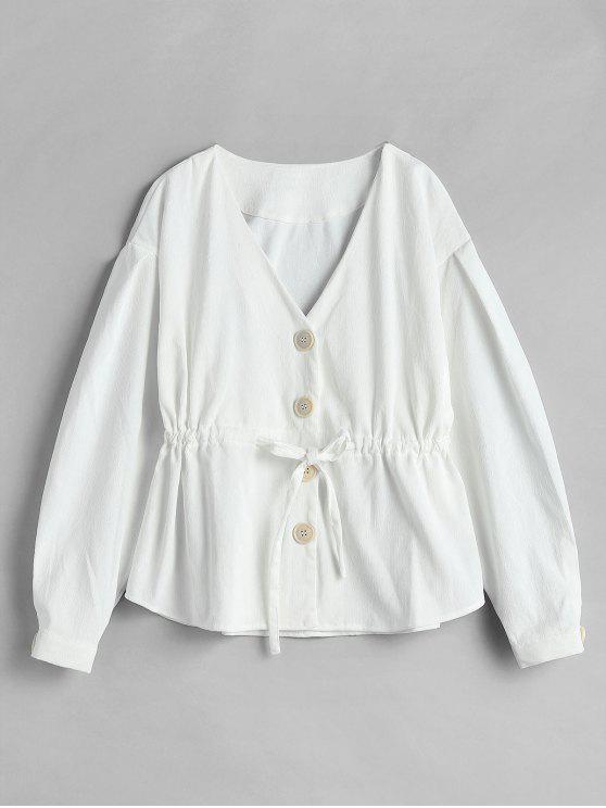fashion Corduroy Drawstring Single Breasted Jacket - WHITE S