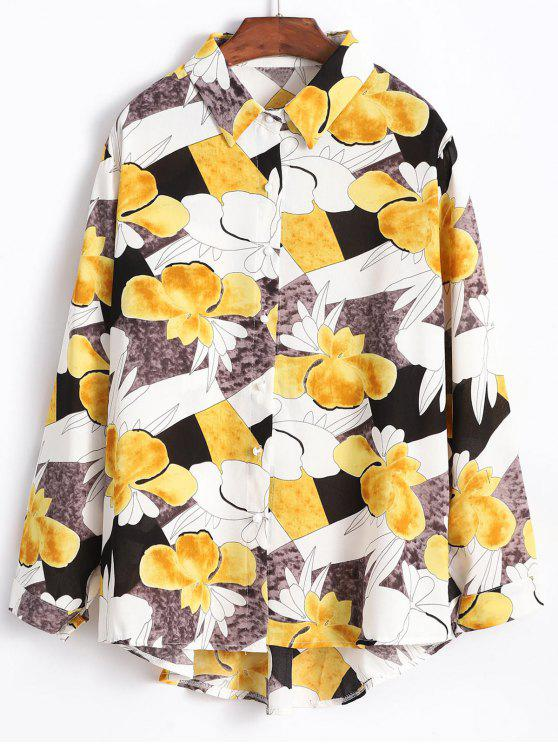 womens High Low Flower Shirt - MULTI-A ONE SIZE