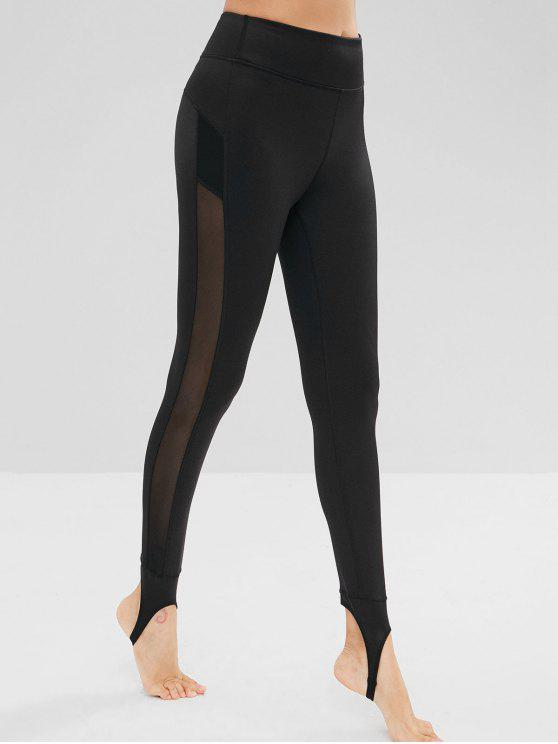 hot Mesh Insert High Waisted Stirrup Leggings - BLACK S
