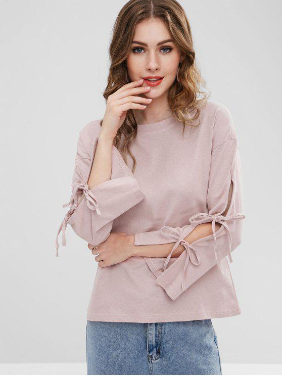 trendy Tie Sleeves Cotton T-shirt - PINK ROSE ONE SIZE